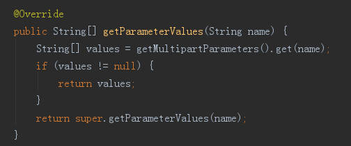 DefaultMultipartHttpServletRequest类的getParameterValues方法